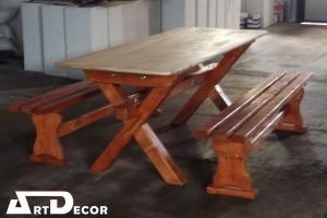 Set masa cu banci din lemn